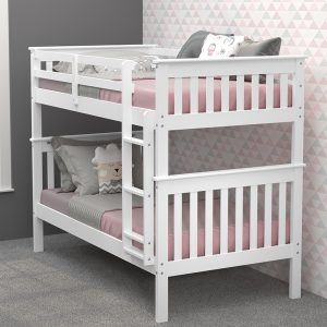 120-3-TTWH twin over twin mission bunk bed in white