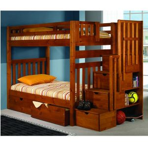 Bunk Bed With Steps U2013 Twin Over Twin Tall Mission Stairway Bunk Bed In  Honey Finish