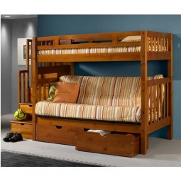 Twin Futon Stairway Bunk Bed in Honey Finish