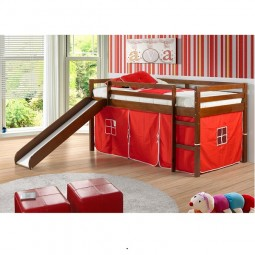Espresso Tent Bed with Slide and Red Tent Covers