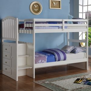 840-TTW arch mission twin twin stairway bunk bed in white