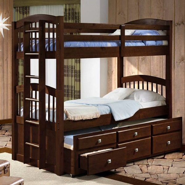 Angelica Captains Trundle Bunk, Bunk Bed With Trundle And Storage Drawers
