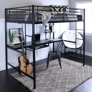 Black Metal Sleep Study Loft Bed