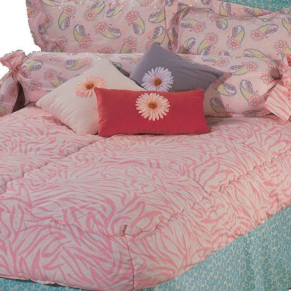 Twin Size Go Girl Pink Zebra Bunk Bed Hugger Tailored Sham