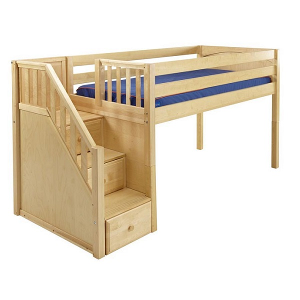 Great Hardwood Low Loft Bed With Stairs In 3 Finishes