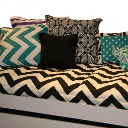 black and white chevron bedding