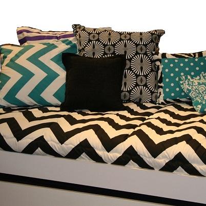 black white chevron bunk bed hugger