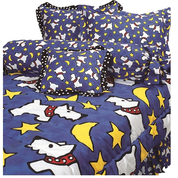 Twin Size Quot Moon Doggie Quot Royal Blue Large Dog Bunk Bed Hugger Amp Tailored Sham