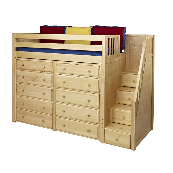 Star hardwood high loft bed with staircase in 3 finishes - Loft bed with drawer stairs ...