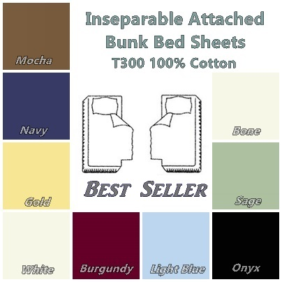 T300 100% Cotton Inseparable Attached Bunk Bed Sheets