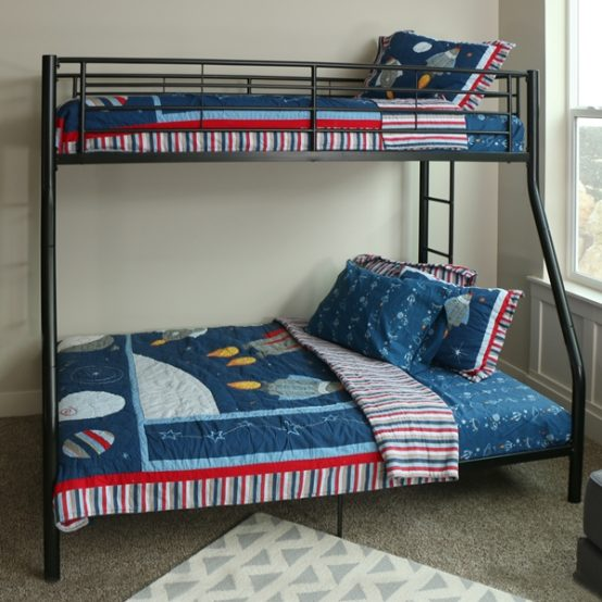 Twin over Full Black Metal Bunk Bed