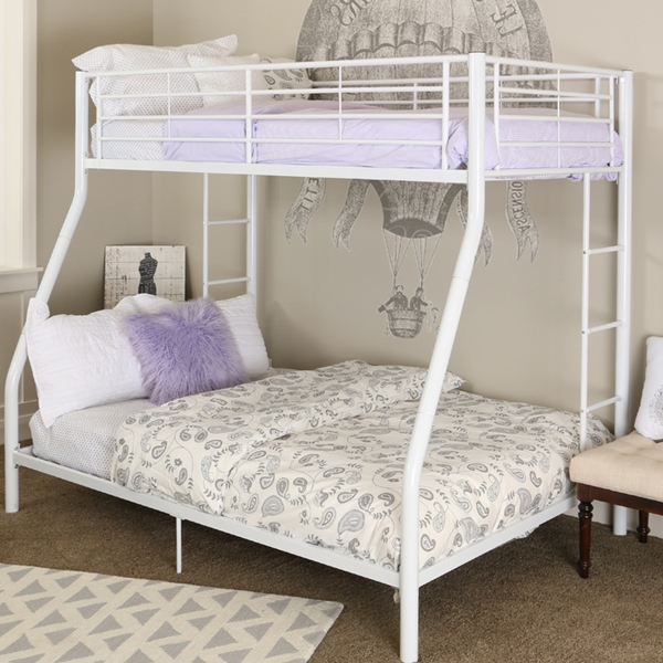 Premium Metal Twin Over Full Bunk Bed White Finish