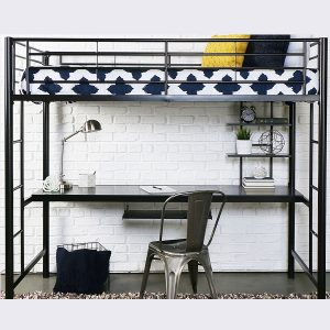 Black Metal Twin Size Sleep Study Loft Bed