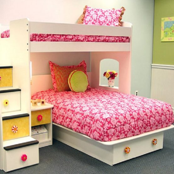 Twin Size Pink Hibiscus Bunk Bed Hugger Tailored Sham