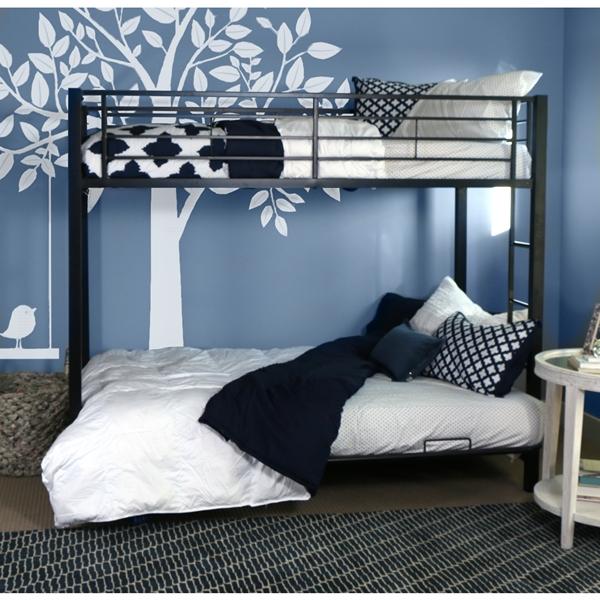Premium Metal Twin Over Futon Bunk Bed Black Bunk Beds