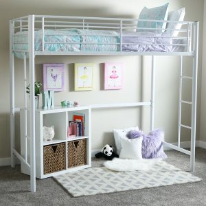 White Metal Loft Bed