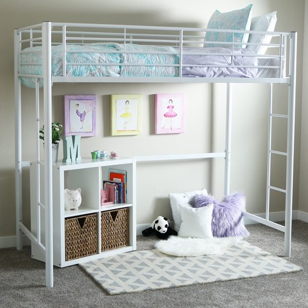White Metal Loft Bed