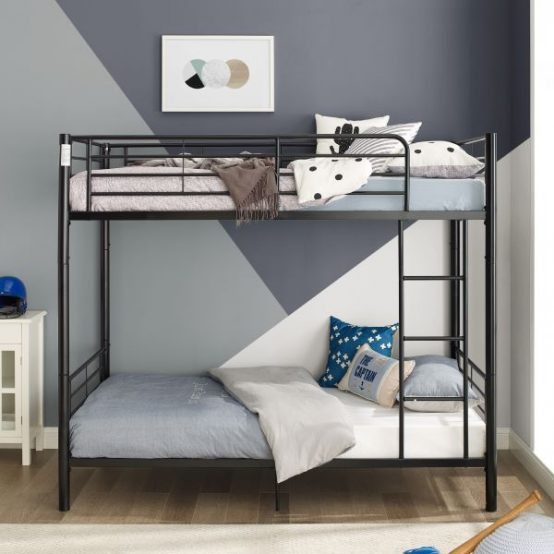 Metal twin over twin bunk bed in black finish