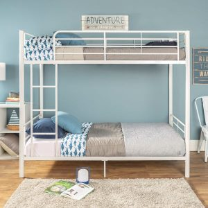 Twin over Twin Metal Bunk Bed in White Finish