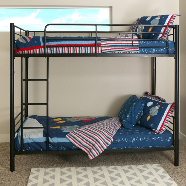 twin over twin black metal bunk bed. Black Bedroom Furniture Sets. Home Design Ideas