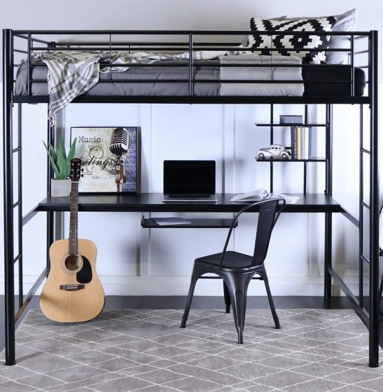 Premium Full Size Black Metal Loft Bed Workstation