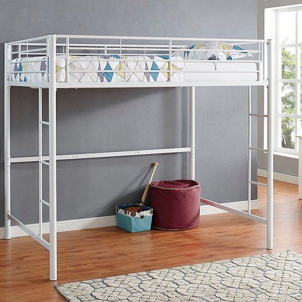 Full Size White Metal Loft Bed
