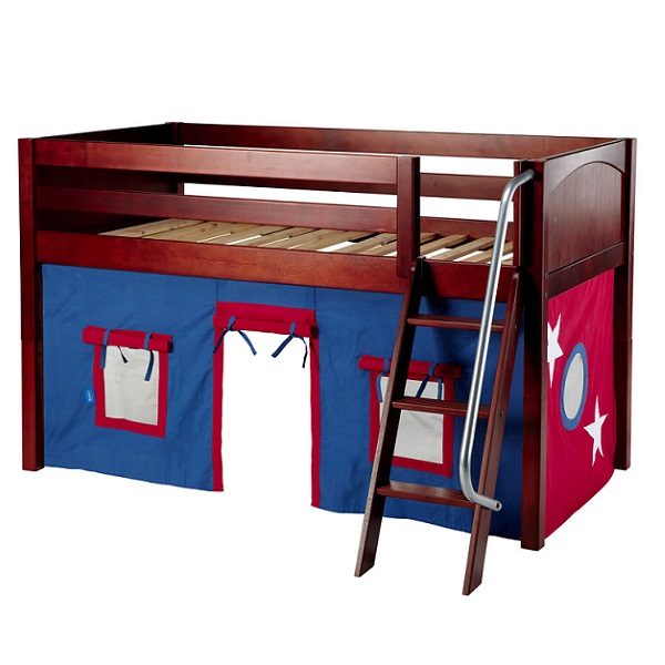 Boys Loft Bed Twin Low Angled, Loft Bed Curtains Boy