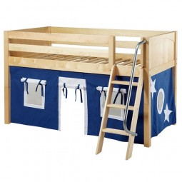 Low Loft Bed with Angle Ladder and Blue & White Curtains
