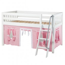 Low Loft Bed with Angle Ladder and Curtains