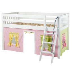 Low Loft Bed with Angle Ladder and Soft Pink, Green and Yellow Curtains