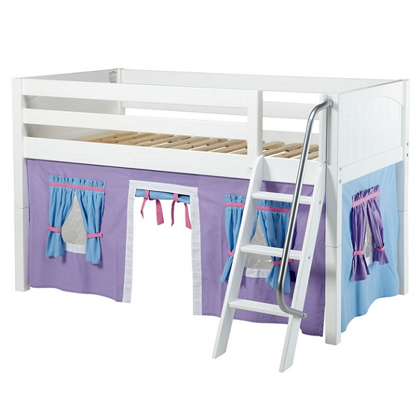 Maxtrix Loft Bed Twin Low Loft w Angled Ladder & Curtains