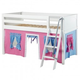 Low Loft Bed with Angle Ladder and Hot Pink, Light Blue and Purple Curtain