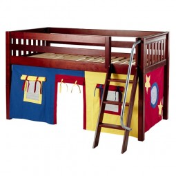 Low Loft Bed with Angle Ladder and Blue, Red and Hot Yellow Curtains