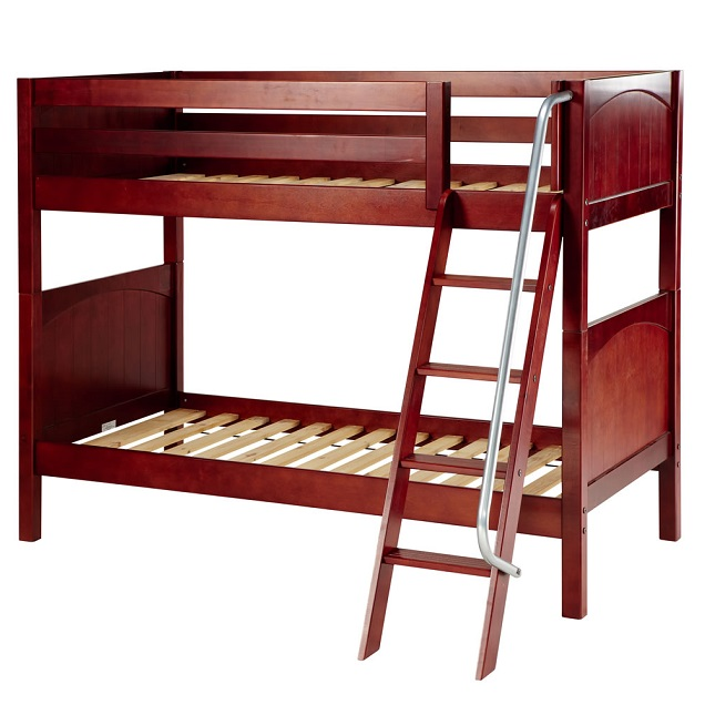 Boys bunk beds hardwood medium twin size bunk bed with for Twin size beds for boys