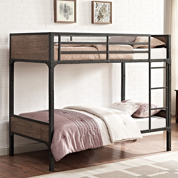 innovative design cbfdd 9183b Industrial Style Twin Size Metal Bunk Bed with Faux Wood Accents