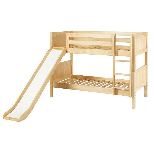 Low Bunk Bed - Hardwood Twin Low Bunk Bed for Kids with