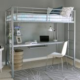 Sleep & Study Silver Metal Loft Bed with Desk