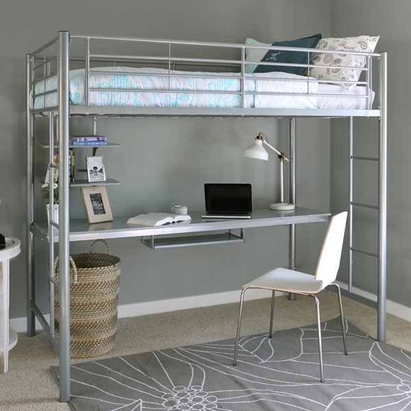 Sleep U0026 Study Silver Metal Loft Bed With Desk