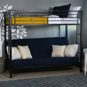 Metal Twin over Futon Bunk Bed Black