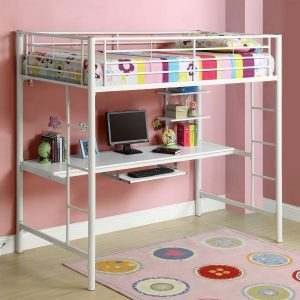 Twin over Workstation Metal Loft Bed in White Finish