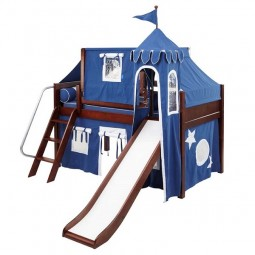 Low Loft Bed with Angle Ladder, Slide, Top Tent, Castle Tower, and Under Bed Curtains