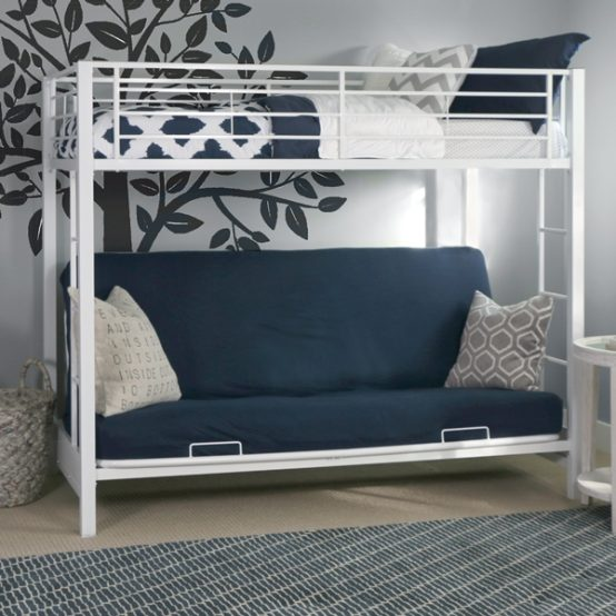 Metal Twin over Futon Bunk Bed - White