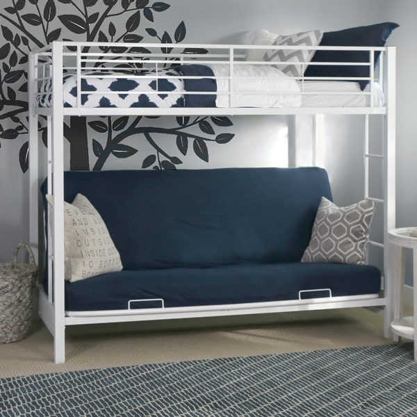 Wondrous Premium Metal Twin Over Futon Bunk Bed White Finish Creativecarmelina Interior Chair Design Creativecarmelinacom