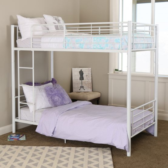 White Metal Bunk Bed Twin over Twin