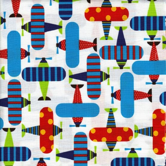 Airplane brite fabric for custom fitted bunk bedding for Childrens airplane fabric