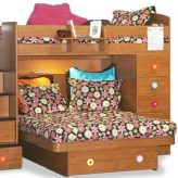 brown flower bunk bed hugger