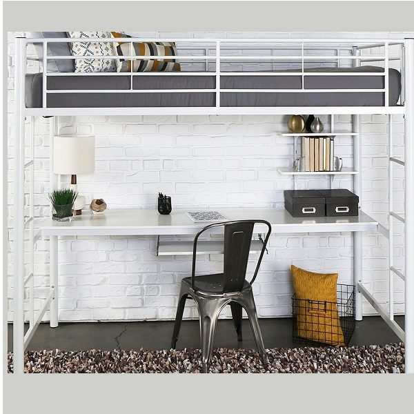 Twin Size White Metal Loft Bed with Desk
