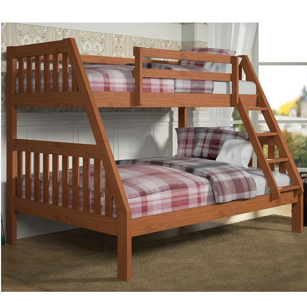Twin Over Full Mission Bunk Bed In Cinnamon Wax Finish