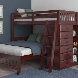 2805-TFM twin full merlot loft bed with full bed underneath