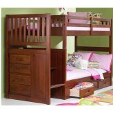 Wood Kids Bunk Bed With Stairs